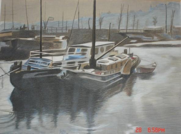 embarcations-dans-le-port-damsterdam-1991